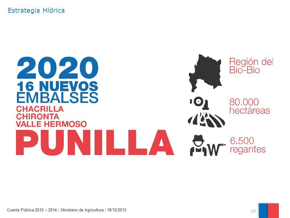 14 Cuenta Pública 2010 – 2014 | Ministerio de Agricultura | 18/12/2013 Estrategia Hídrica
