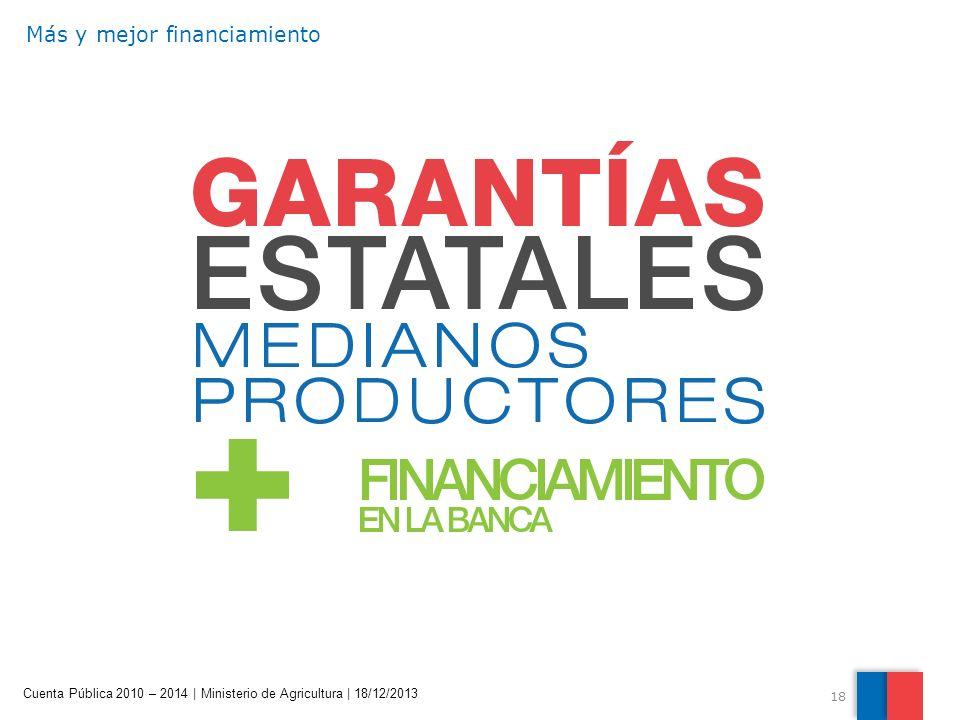 18 Cuenta Pública 2010 – 2014 | Ministerio de Agricultura | 18/12/2013 Más y mejor financiamiento