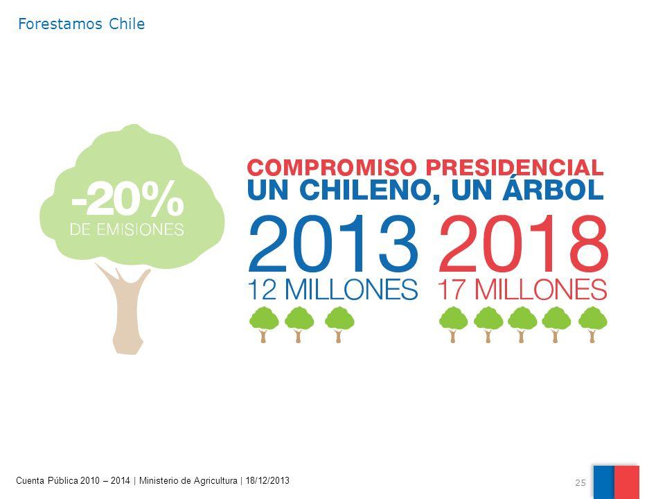 25 Cuenta Pública 2010 – 2014 | Ministerio de Agricultura | 18/12/2013 Forestamos Chile