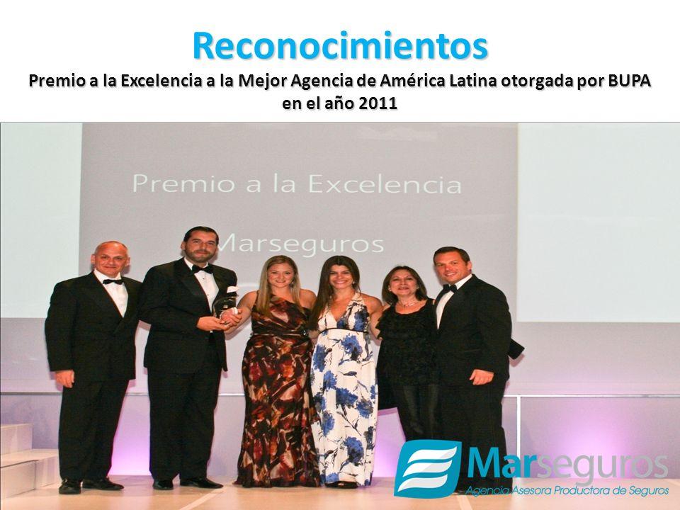 Reconocimientos Premio a la Excelencia a la Mejor Agencia de América Latina otorgada por BUPA en el año 2011