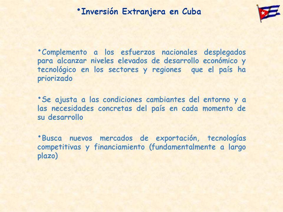 Inversión Extranjera en Cuba Complemento a los esfuerzos nacionales desplegados para alcanzar niveles elevados de desarrollo económico y tecnológico en los sectores y regiones que el país ha priorizado Se ajusta a las condiciones cambiantes del entorno y a las necesidades concretas del país en cada momento de su desarrollo Busca nuevos mercados de exportación, tecnologías competitivas y financiamiento (fundamentalmente a largo plazo)