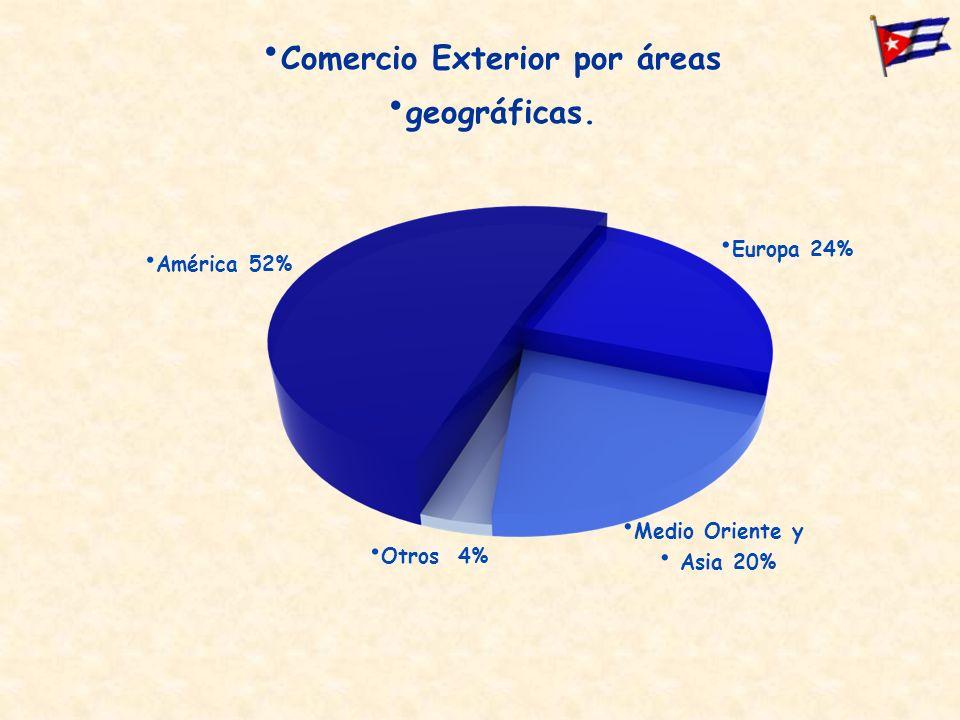 Comercio Exterior por áreas geográficas. Otros 4% América 52% Europa 24% Medio Oriente y Asia 20%