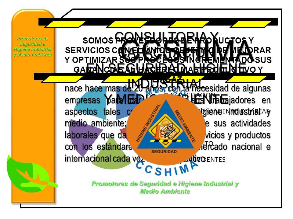 Promotores de Seguridad e Higiene Industrial y Medio Ambiente CONSULTORIA Y CAPACITACION EN SEGURIDAD, HIGIENE INDUSTRIAL Y MEDIO AMBIENTE nace hace m