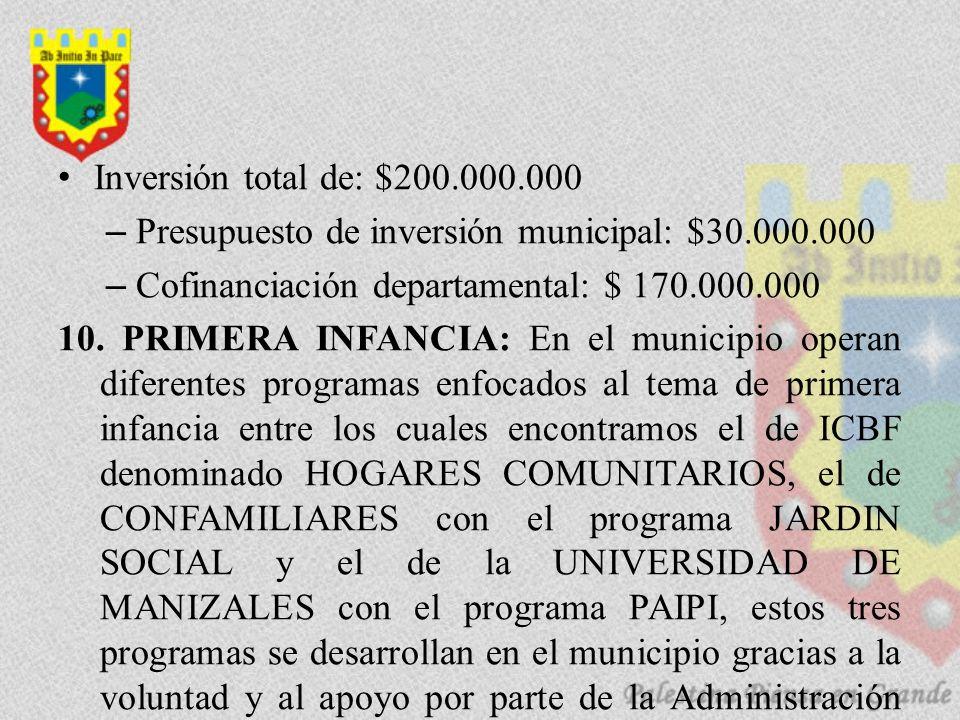 Inversión total de: $200.000.000 –Presupuesto de inversión municipal: $30.000.000 –Cofinanciación departamental: $ 170.000.000 10.