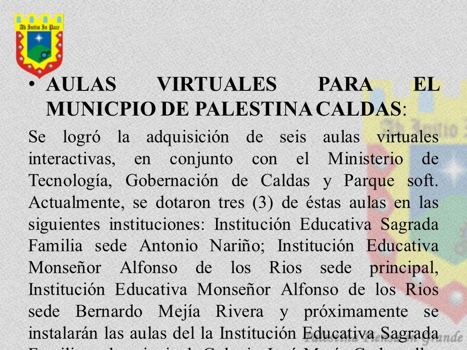 AULAS VIRTUALES PARA EL MUNICPIO DE PALESTINA CALDAS: Se logró la adquisición de seis aulas virtuales interactivas, en conjunto con el Ministerio de Tecnología, Gobernación de Caldas y Parque soft.