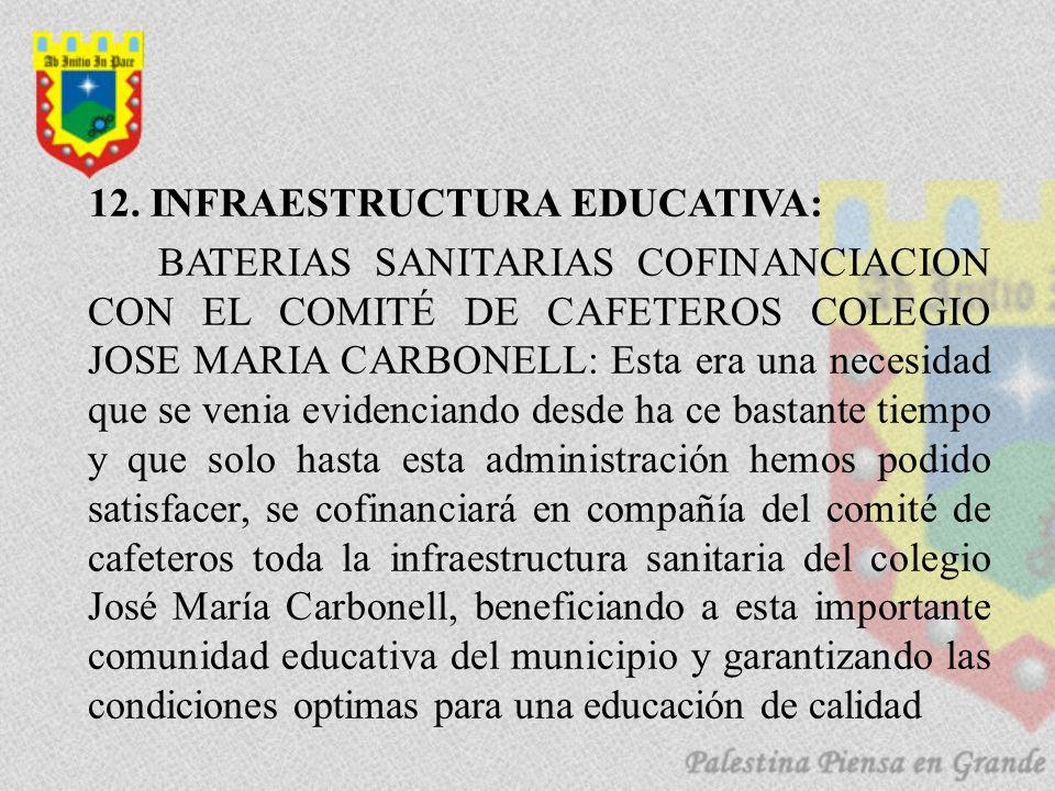 12. INFRAESTRUCTURA EDUCATIVA: BATERIAS SANITARIAS COFINANCIACION CON EL COMITÉ DE CAFETEROS COLEGIO JOSE MARIA CARBONELL: Esta era una necesidad que