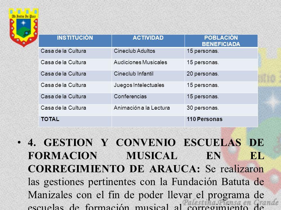 4. GESTION Y CONVENIO ESCUELAS DE FORMACION MUSICAL EN EL CORREGIMIENTO DE ARAUCA: Se realizaron las gestiones pertinentes con la Fundación Batuta de