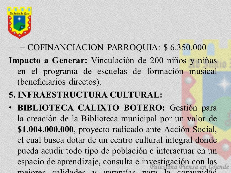 –COFINANCIACION PARROQUIA: $ 6.350.000 Impacto a Generar: Vinculación de 200 niños y niñas en el programa de escuelas de formación musical (beneficiarios directos).