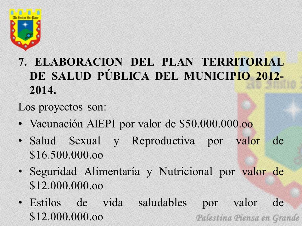 7. ELABORACION DEL PLAN TERRITORIAL DE SALUD PÚBLICA DEL MUNICIPIO 2012- 2014. Los proyectos son: Vacunación AIEPI por valor de $50.000.000.oo Salud S