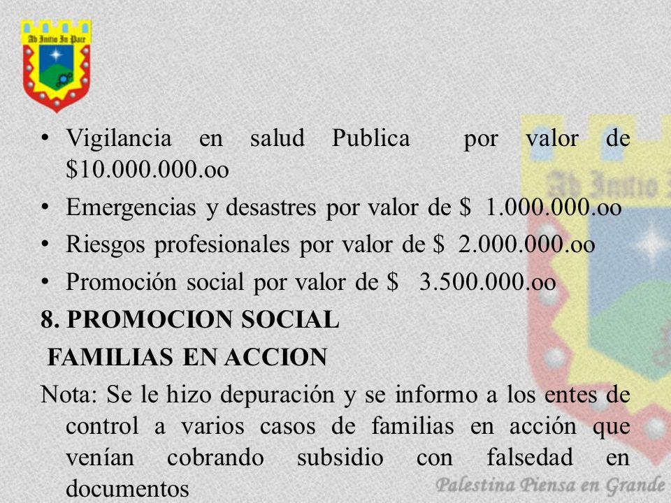 Vigilancia en salud Publica por valor de $10.000.000.oo Emergencias y desastres por valor de $ 1.000.000.oo Riesgos profesionales por valor de $ 2.000