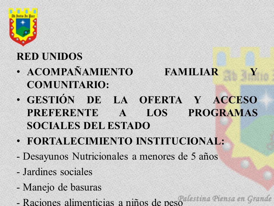 RED UNIDOS ACOMPAÑAMIENTO FAMILIAR Y COMUNITARIO: GESTIÓN DE LA OFERTA Y ACCESO PREFERENTE A LOS PROGRAMAS SOCIALES DEL ESTADO FORTALECIMIENTO INSTITU