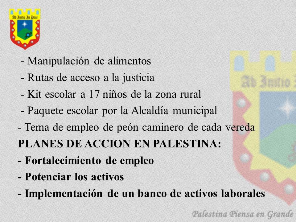 - Manipulación de alimentos - Rutas de acceso a la justicia - Kit escolar a 17 niños de la zona rural - Paquete escolar por la Alcaldía municipal - Te