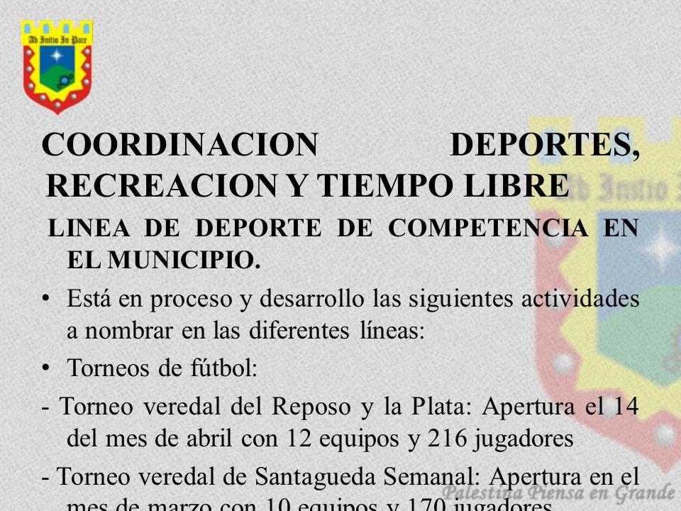 COORDINACION DEPORTES, RECREACION Y TIEMPO LIBRE LINEA DE DEPORTE DE COMPETENCIA EN EL MUNICIPIO. Está en proceso y desarrollo las siguientes activida