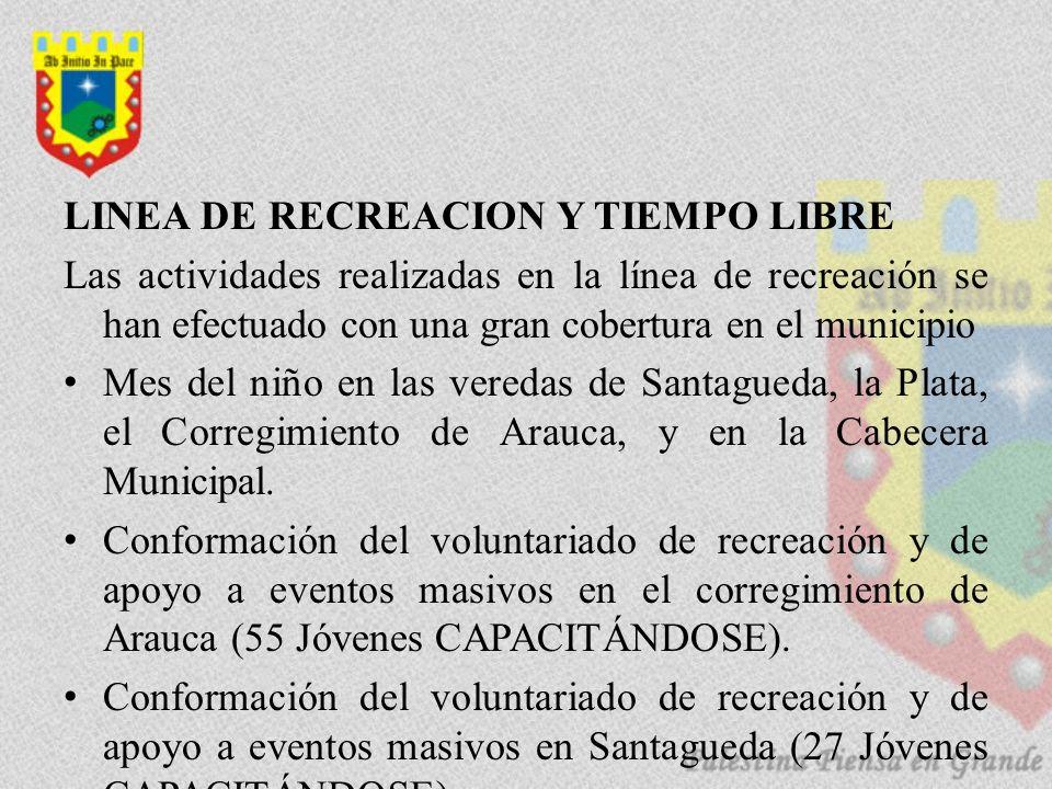 LINEA DE RECREACION Y TIEMPO LIBRE Las actividades realizadas en la línea de recreación se han efectuado con una gran cobertura en el municipio Mes del niño en las veredas de Santagueda, la Plata, el Corregimiento de Arauca, y en la Cabecera Municipal.