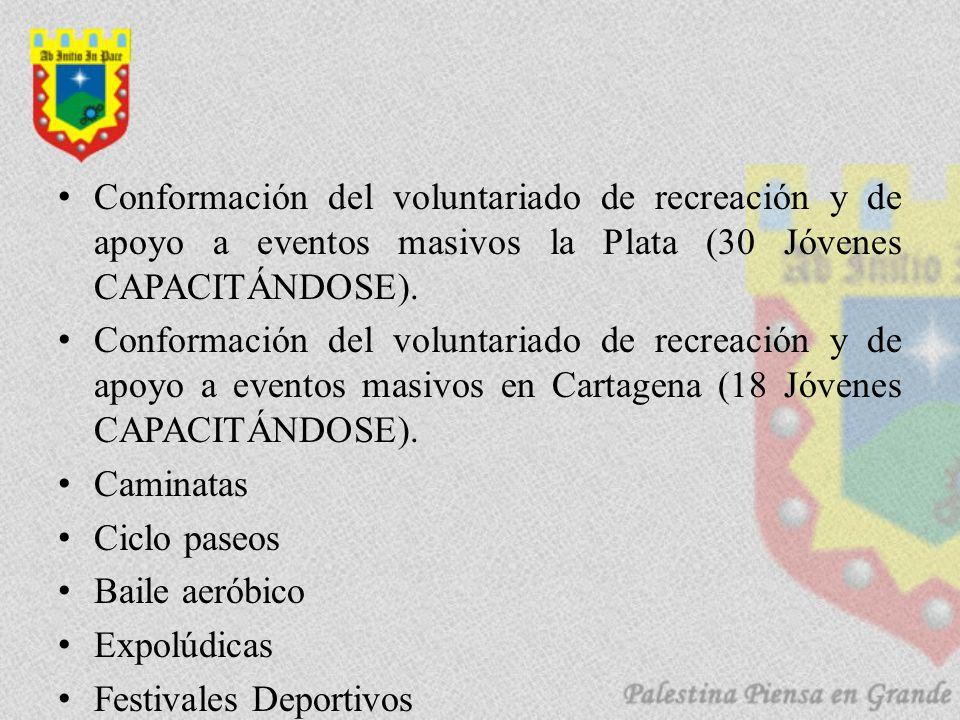 Conformación del voluntariado de recreación y de apoyo a eventos masivos la Plata (30 Jóvenes CAPACITÁNDOSE). Conformación del voluntariado de recreac