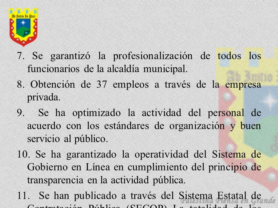 7. Se garantizó la profesionalización de todos los funcionarios de la alcaldía municipal. 8. Obtención de 37 empleos a través de la empresa privada. 9