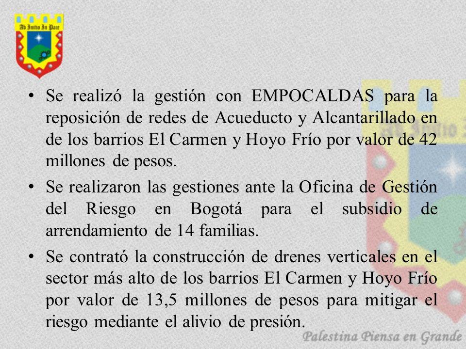 Se realizó la gestión con EMPOCALDAS para la reposición de redes de Acueducto y Alcantarillado en de los barrios El Carmen y Hoyo Frío por valor de 42