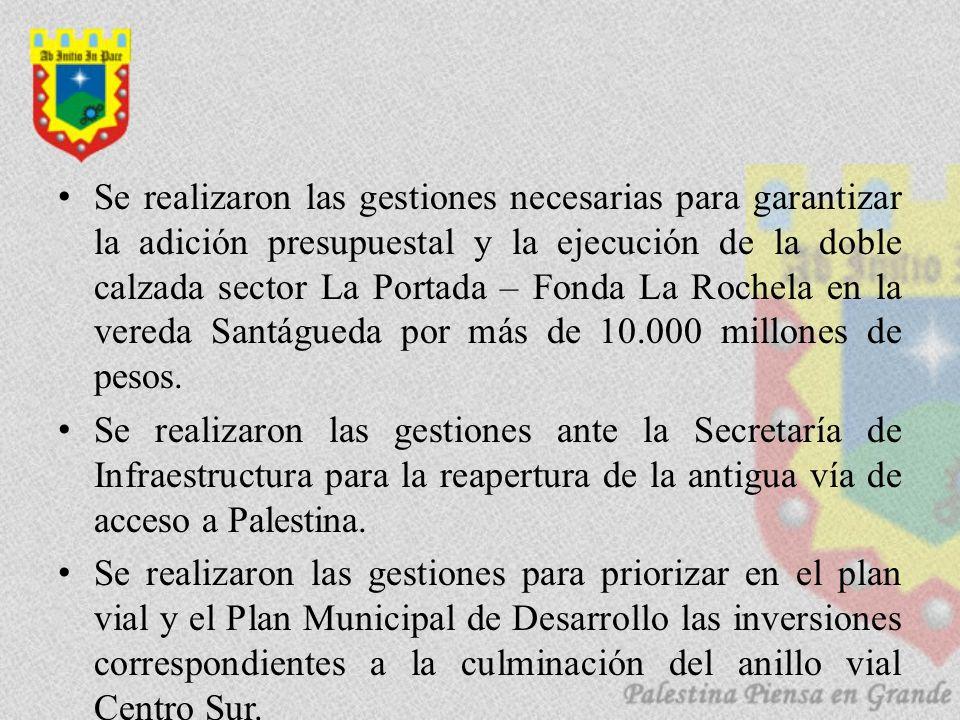 Se realizaron las gestiones necesarias para garantizar la adición presupuestal y la ejecución de la doble calzada sector La Portada – Fonda La Rochela