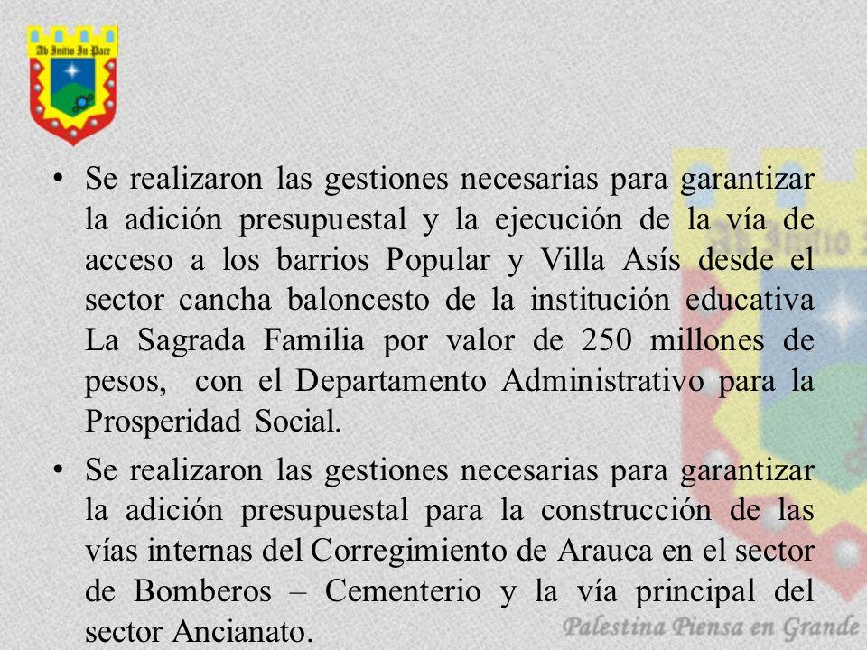 Se realizaron las gestiones necesarias para garantizar la adición presupuestal y la ejecución de la vía de acceso a los barrios Popular y Villa Asís d