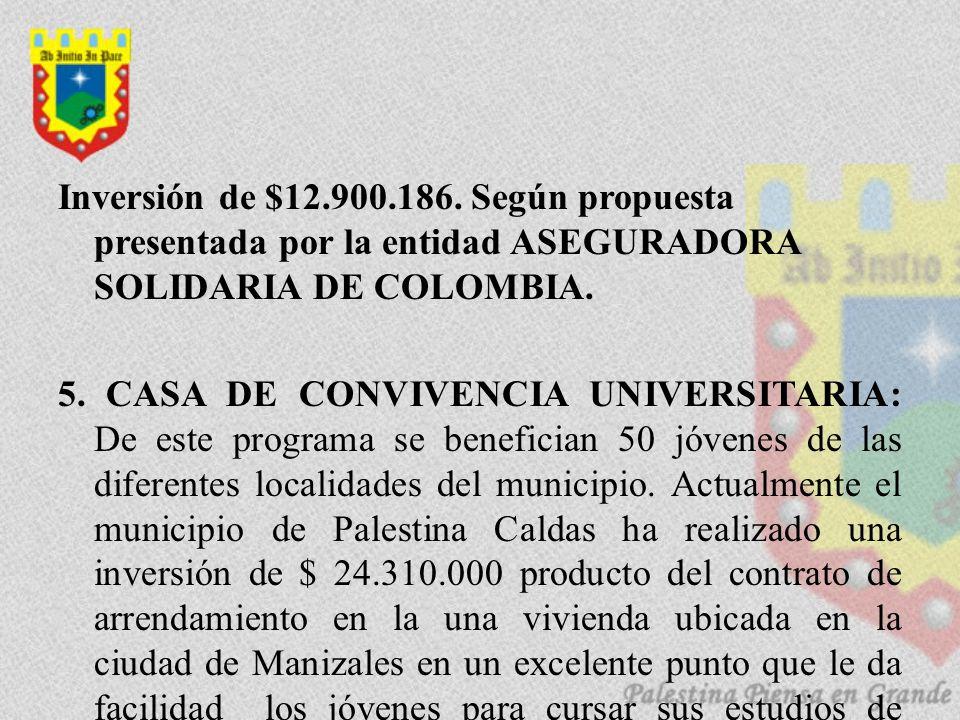 Inversión de $12.900.186. Según propuesta presentada por la entidad ASEGURADORA SOLIDARIA DE COLOMBIA. 5. CASA DE CONVIVENCIA UNIVERSITARIA: De este p