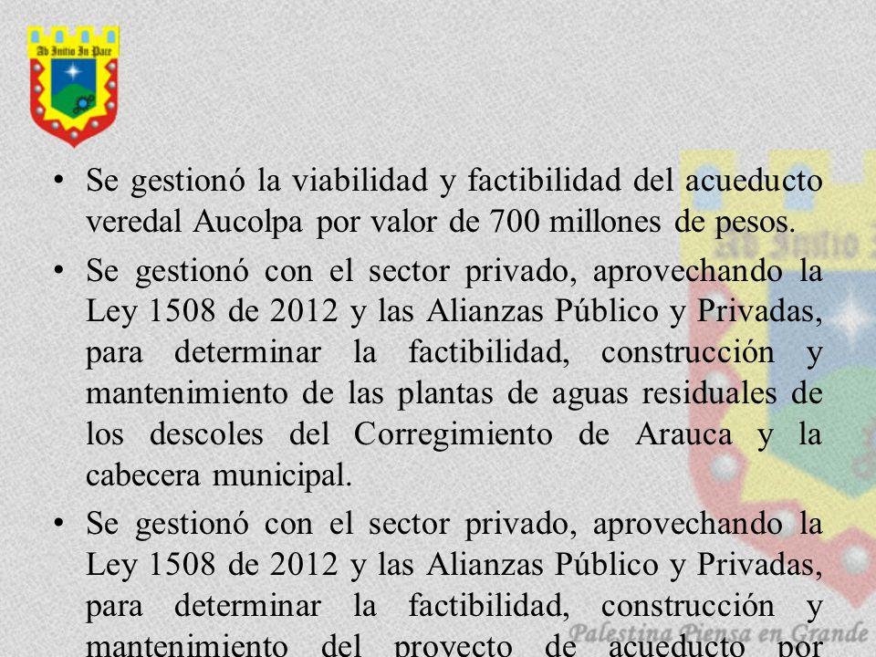 Se gestionó la viabilidad y factibilidad del acueducto veredal Aucolpa por valor de 700 millones de pesos. Se gestionó con el sector privado, aprovech