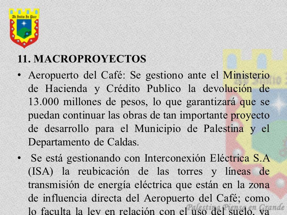 11. MACROPROYECTOS Aeropuerto del Café: Se gestiono ante el Ministerio de Hacienda y Crédito Publico la devolución de 13.000 millones de pesos, lo que