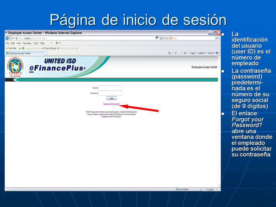 Página de inicio de sesión La identificación del usuario (user ID) es el número de empleado La identificación del usuario (user ID) es el número de em