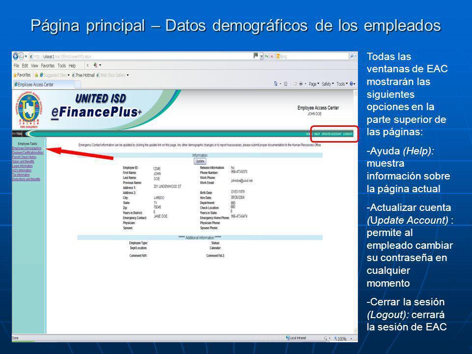Página principal – Datos demográficos de los empleados Todas las ventanas de EAC mostrarán las siguientes opciones en la parte superior de las páginas
