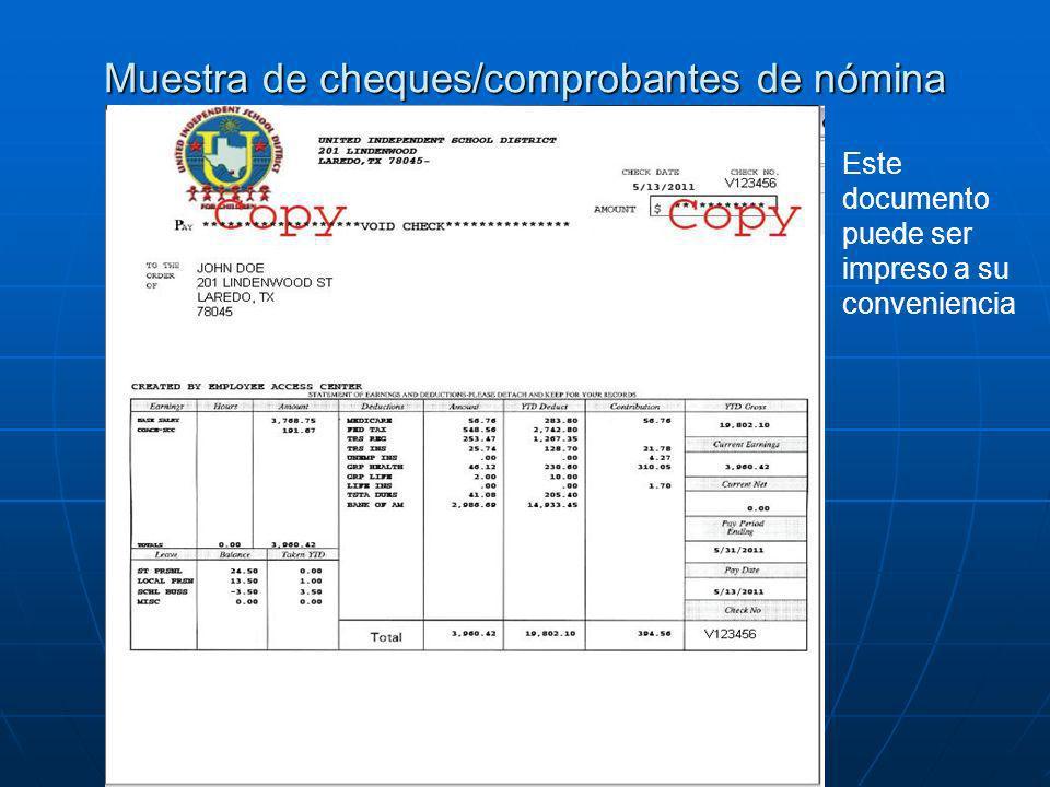 Muestra de cheques/comprobantes de nómina Este documento puede ser impreso a su conveniencia