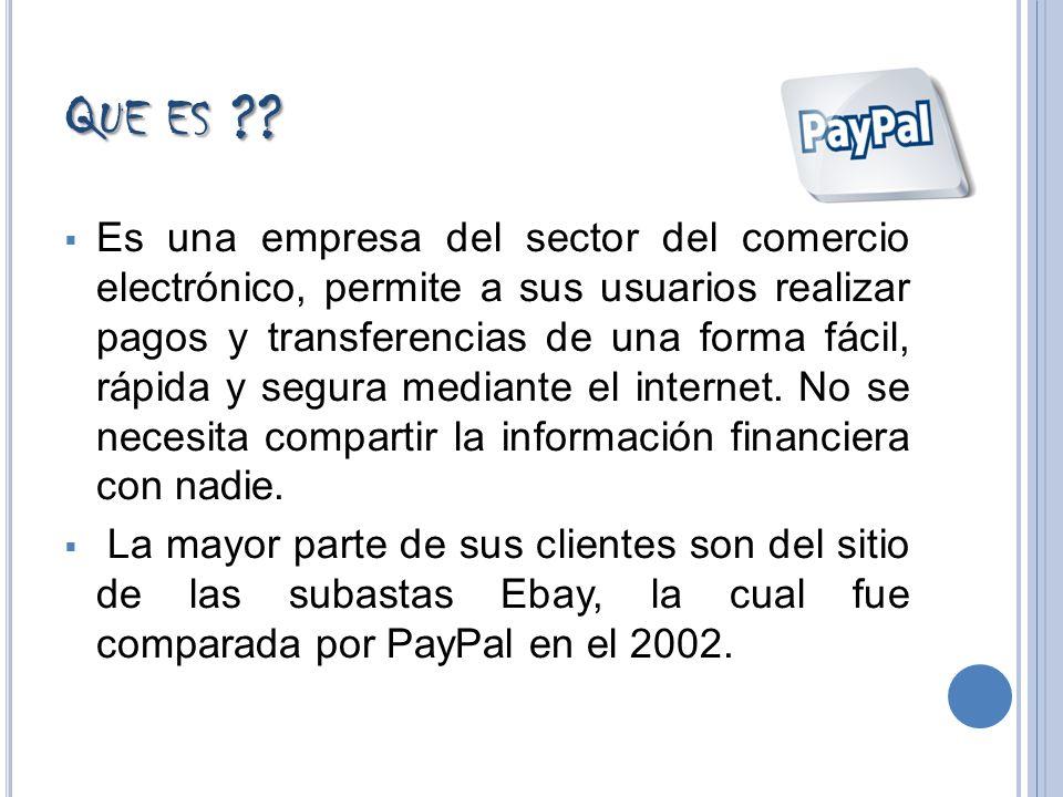 Q UE ES ?? Es una empresa del sector del comercio electrónico, permite a sus usuarios realizar pagos y transferencias de una forma fácil, rápida y seg
