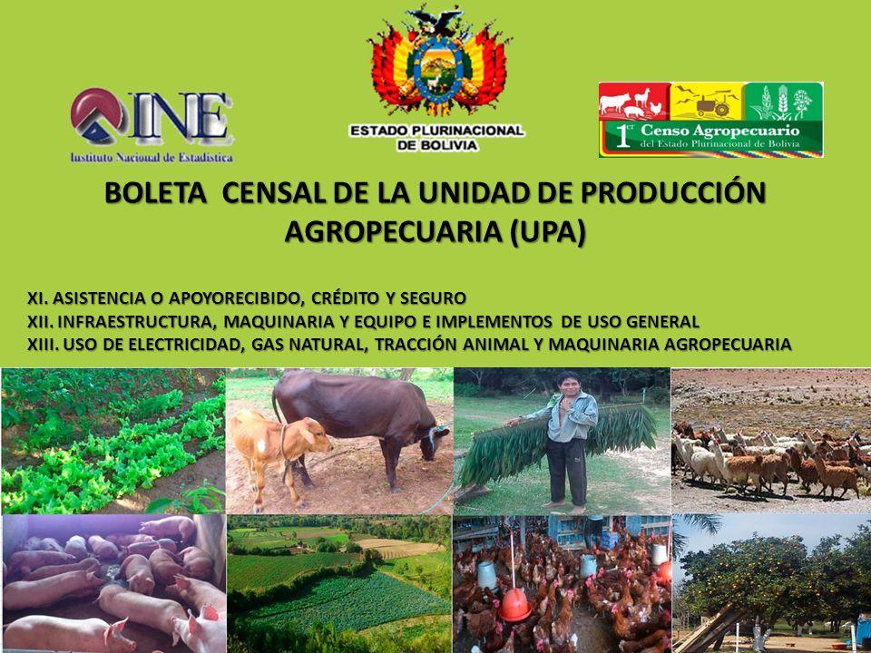 BOLETA CENSAL DE LA UNIDAD DE PRODUCCIÓN AGROPECUARIA (UPA) XI. ASISTENCIA O APOYORECIBIDO, CRÉDITO Y SEGURO XII. INFRAESTRUCTURA, MAQUINARIA Y EQUIPO