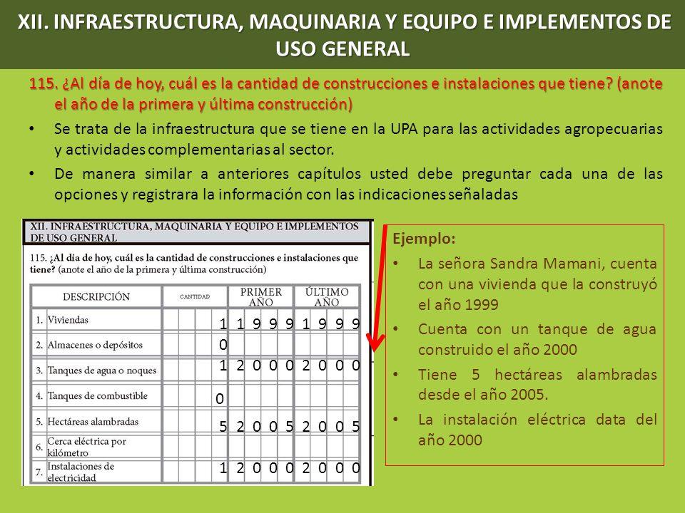 XII. INFRAESTRUCTURA, MAQUINARIA Y EQUIPO E IMPLEMENTOS DE USO GENERAL 115. ¿Al día de hoy, cuál es la cantidad de construcciones e instalaciones que