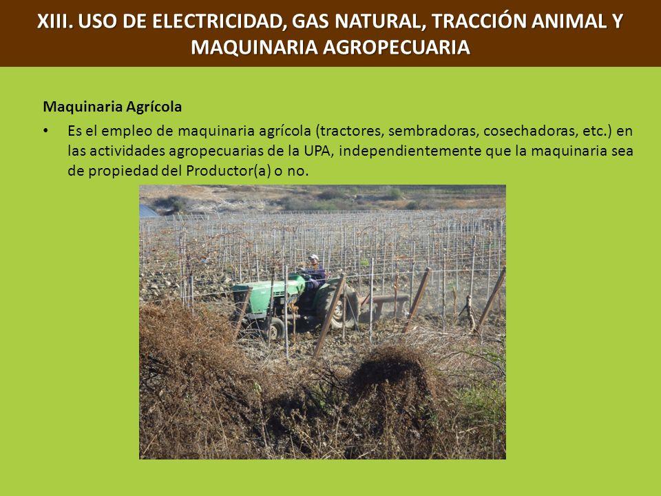XIII. USO DE ELECTRICIDAD, GAS NATURAL, TRACCIÓN ANIMAL Y MAQUINARIA AGROPECUARIA Maquinaria Agrícola Es el empleo de maquinaria agrícola (tractores,