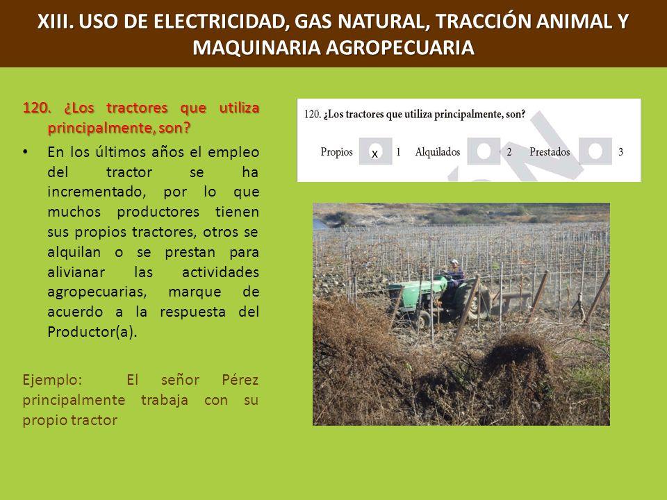 XIII. USO DE ELECTRICIDAD, GAS NATURAL, TRACCIÓN ANIMAL Y MAQUINARIA AGROPECUARIA 120. ¿Los tractores que utiliza principalmente, son? En los últimos