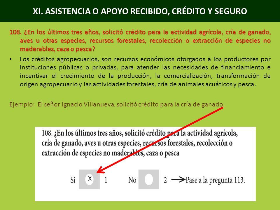 XI. ASISTENCIA O APOYO RECIBIDO, CRÉDITO Y SEGURO 108. ¿En los últimos tres años, solicitó crédito para la actividad agrícola, cría de ganado, aves u