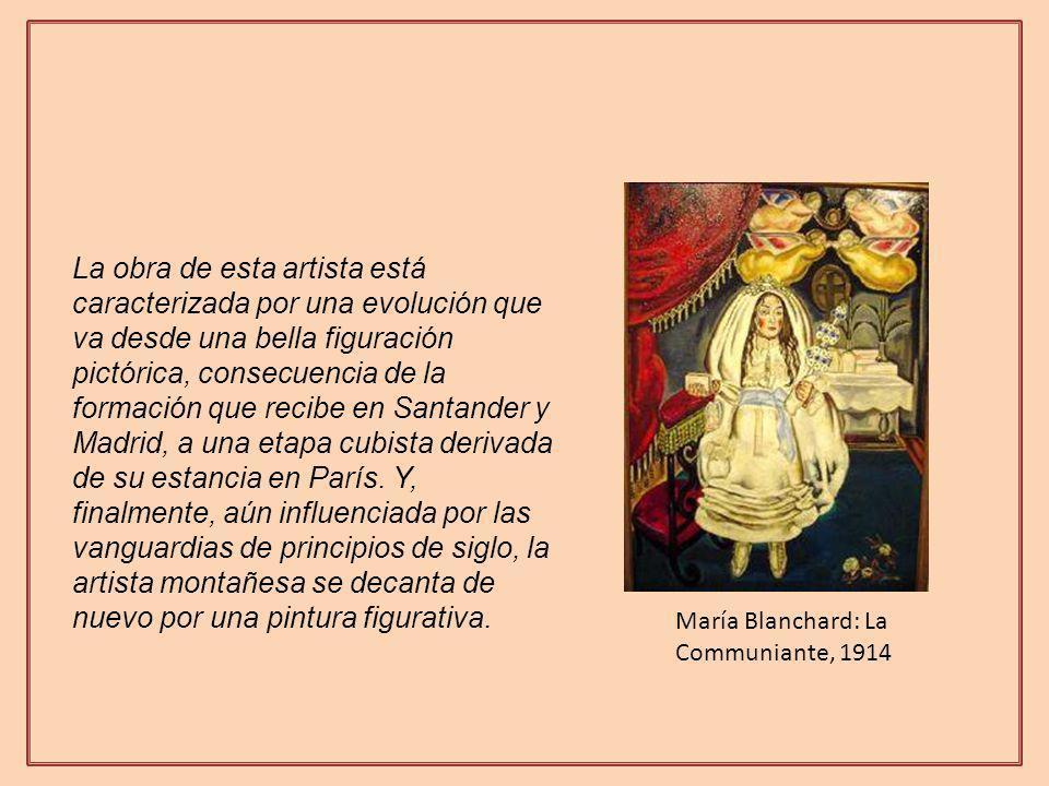 La obra de esta artista está caracterizada por una evolución que va desde una bella figuración pictórica, consecuencia de la formación que recibe en Santander y Madrid, a una etapa cubista derivada de su estancia en París.