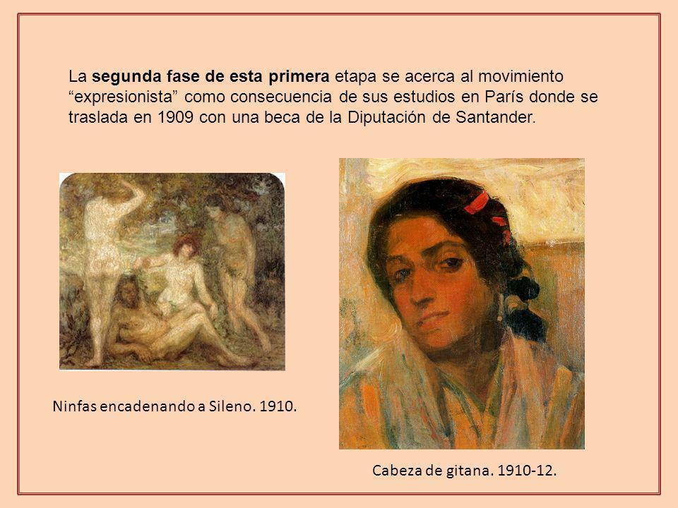 La segunda fase de esta primera etapa se acerca al movimiento expresionista como consecuencia de sus estudios en París donde se traslada en 1909 con una beca de la Diputación de Santander.