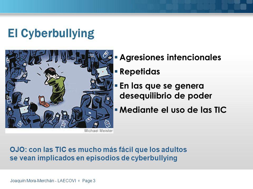Joaquín Mora-Merchán - LAECOVI Page 14 Modelos bloqueo/punitivos Modelos educativos Programas E-safety Programas antibullying- mejora de la convivencia Dos grandes planteamientos ¿Cómo podemos actuar?