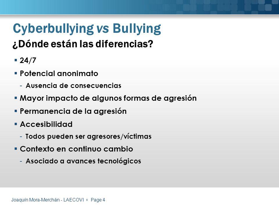 Relación con el bullying tradicional Los estudiantes que están involucrados en episodios de cyberbullying suelen estarlo también en problemas de bullying tradicional.