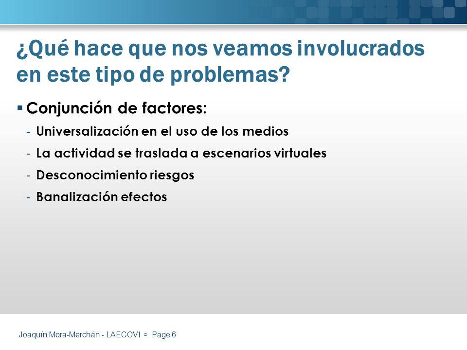 Joaquín Mora-Merchán - LAECOVI Page 17 Elaboración de protocolos de actuación (emici)emici Campañas de sensibilización (vodafone)vodafone Cybermentores (http://www.cybermentors.org.uk/)http://www.cybermentors.org.uk/ Servicios de ayuda online (http://www.internetsinacoso.com/)http://www.internetsinacoso.com/ Sistemas de denuncia online (http://www.denuncia- online.org/)http://www.denuncia- online.org/) Información mediante blogs o páginas temáticasblogspáginas Bases de datos con recursos/buenas prácticas Bases de datos Algunos ejemplos de actuación ¿Cómo podemos actuar?
