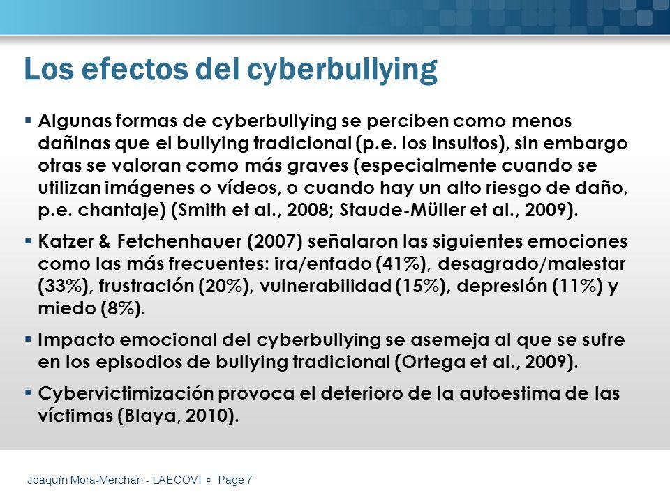Joaquín Mora-Merchán - LAECOVI Page 18 Pautas de actuación Propuestas para profesores y centros educativos Entender y hablar sobre el cyberbullying.