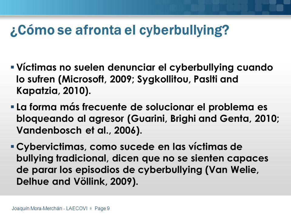 Joaquín Mora-Merchán - LAECOVI Page 10 Mediante denuncias Observación directa de la conducta ¿Propuestas de actuación.