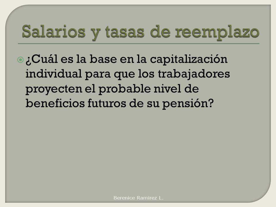 ¿Cuál es la base en la capitalización individual para que los trabajadores proyecten el probable nivel de beneficios futuros de su pensión? Berenice R