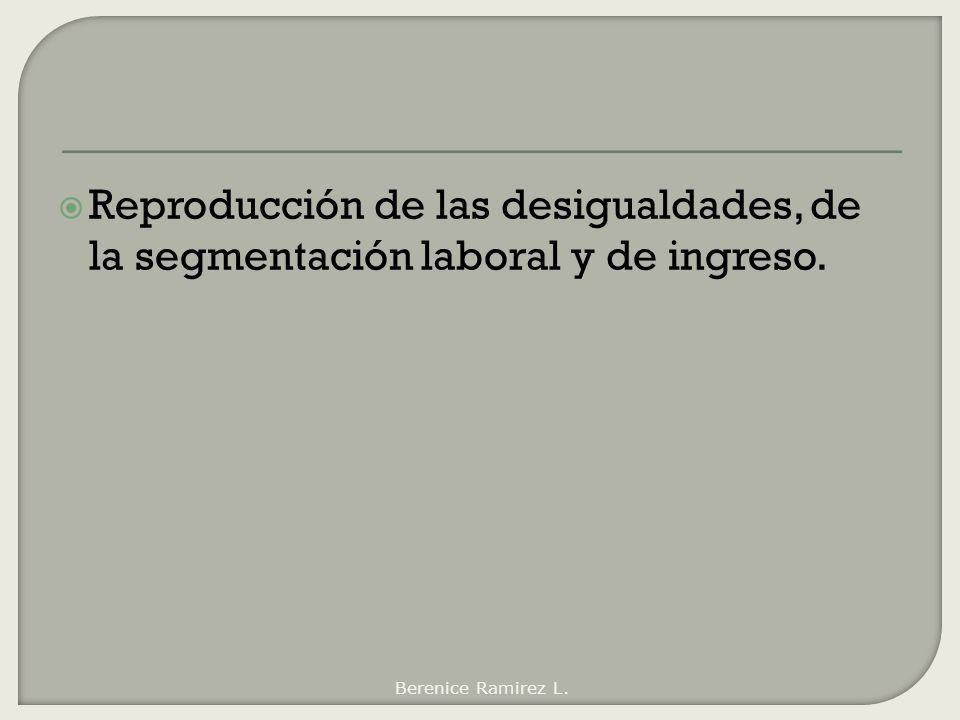 Reproducción de las desigualdades, de la segmentación laboral y de ingreso. Berenice Ramirez L.