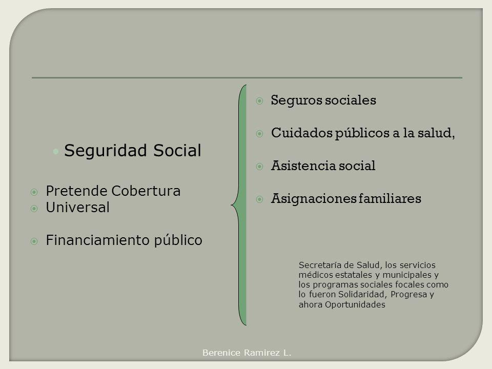 Seguridad Social Pretende Cobertura Universal Financiamiento público Seguros sociales Cuidados públicos a la salud, Asistencia social Asignaciones fam