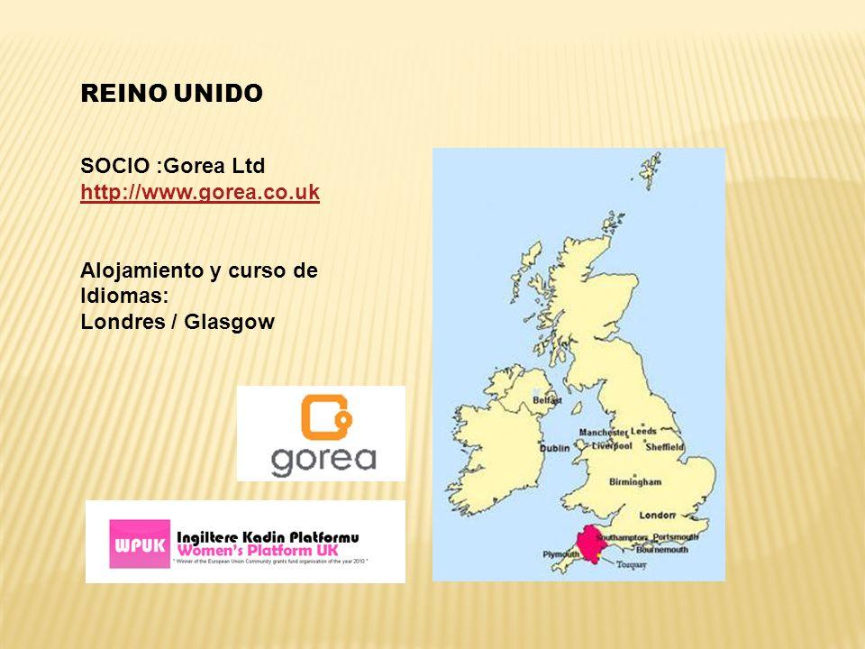 REINO UNIDO SOCIO :Gorea Ltd http://www.gorea.co.uk Alojamiento y curso de Idiomas: Londres / Glasgow
