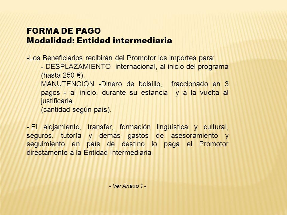 FORMA DE PAGO Modalidad: Entidad intermediaria -Los Beneficiarios recibirán del Promotor los importes para: - DESPLAZAMIENTO internacional, al inicio