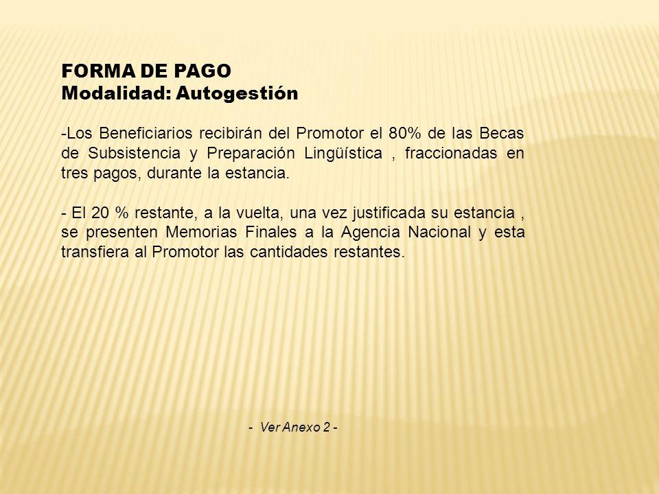 FORMA DE PAGO Modalidad: Autogestión -Los Beneficiarios recibirán del Promotor el 80% de las Becas de Subsistencia y Preparación Lingüística, fraccion