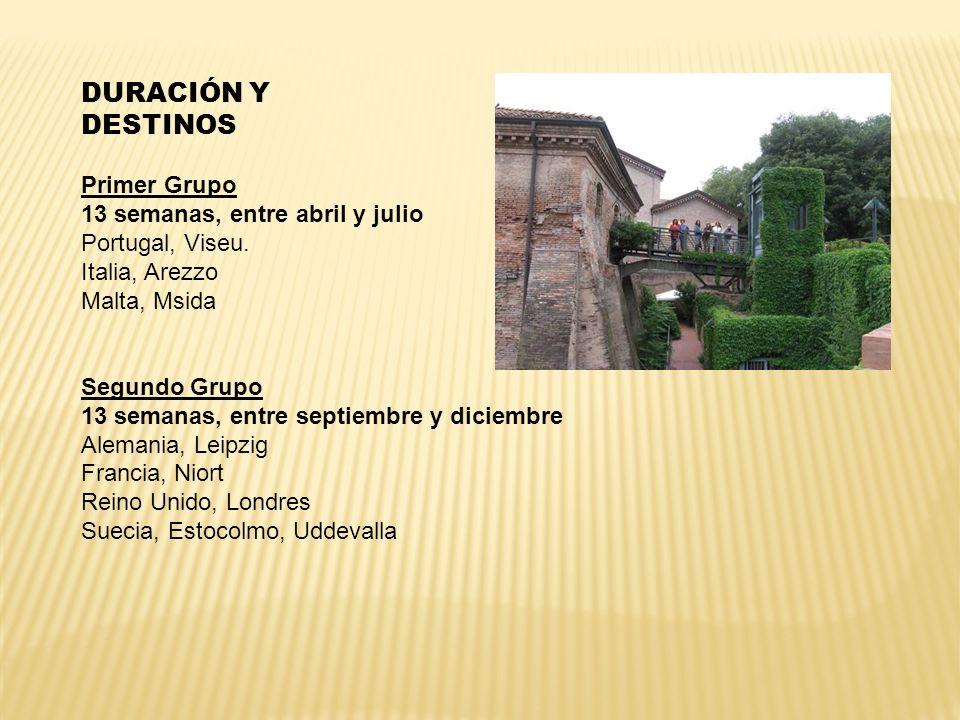 DURACIÓN Y DESTINOS Primer Grupo 13 semanas, entre abril y julio Portugal, Viseu. Italia, Arezzo Malta, Msida Segundo Grupo 13 semanas, entre septiemb