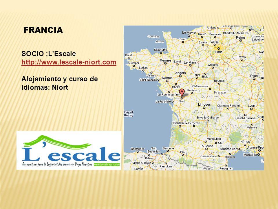 FRANCIA SOCIO :LEscale http://www.lescale-niort.com http://www.lescale-niort.com Alojamiento y curso de Idiomas: Niort